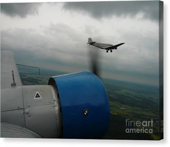 Junkers Ju-52 Flight Under Dark Clouds Canvas Print by Joachim Kraus
