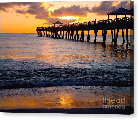 Beach Sunrises Canvas Print - Juno Beach Pier by Carey Chen