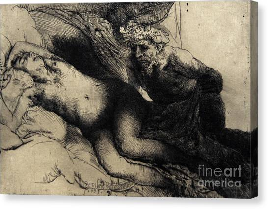 Baroque Canvas Print - Jupiter And Antiope by Rembrandt