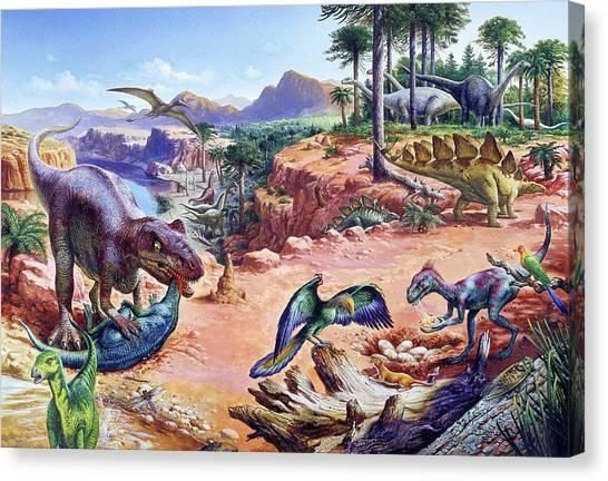 Brachiosaurus Canvas Print - Jurassic Fauna by Christian Jegou Publiphoto Diffusion/ Science Photo Library