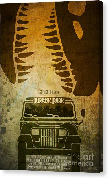 Jurassic Park Canvas Print - Jurassic Park Movie Poster by Ed Burczyk
