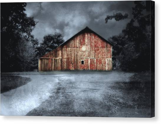 Night Time Barn Canvas Print