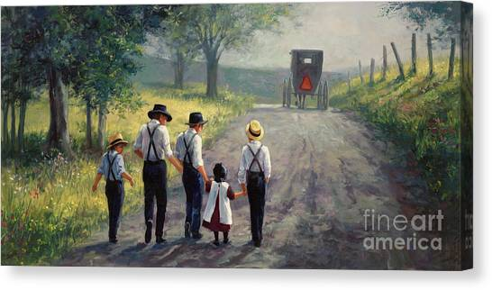 Amish Canvas Print - Just Around The Bend by Laurie Hein