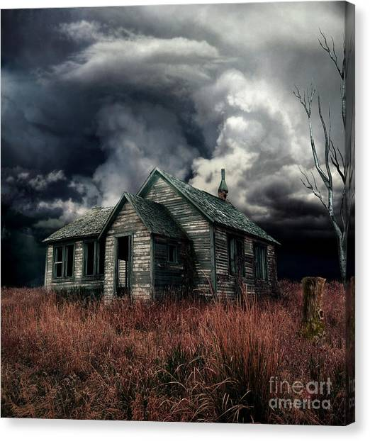 Haunted House Canvas Print - Just Before The Storm by Aimelle