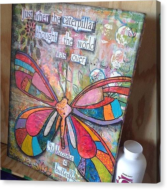 Insects Canvas Print - Just Finished #mixedmedia #inspiration by Robin Mead