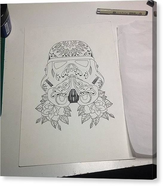 Stormtrooper Canvas Print - Just Finished The Line Work Now The Fun by Kyle StCroix