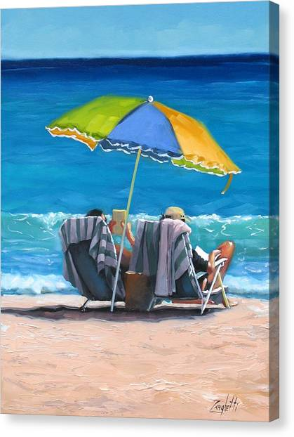 People On Beach Canvas Print - Just Leave A Message Iv by Laura Lee Zanghetti
