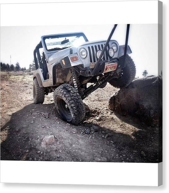 Offroading Canvas Print - Just Stretching Her Legs. #jeep by James Crawshaw