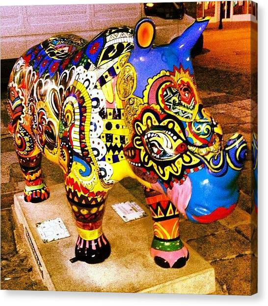 Rhinos Canvas Print - Just Your Usual Statue In A Street by Carl Edge