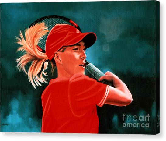 Tennis Players Canvas Print - Justine Henin  by Paul Meijering