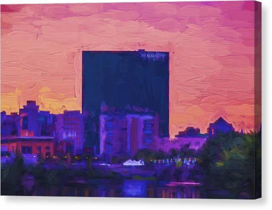 Milwaukee Brewers Canvas Print - Jw Marriott Painted Digitally Indianapolis Indiana  9900 by David Haskett II