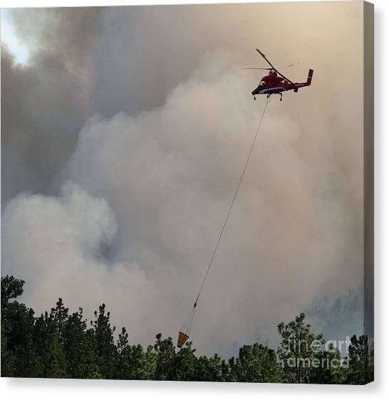 K-max Helicopter On Myrtle Fire Canvas Print