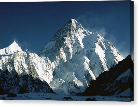 Karakoram Canvas Print - K2 At Dawn 8611 Meters Seen From Camp by Colin Monteath