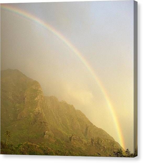 Rainbows Canvas Print - Kaaawa Rainbow #hawaii #oahu #rainbow by Brian Governale