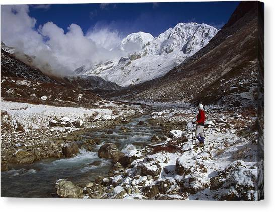 Kangchenjunga Canvas Print - Kabru Peak Winter Himalaya India by Colin Monteath