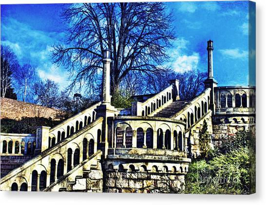 Sightseeing Canvas Print - Kalemegdan Fortress Stairs by Milan Karadzic