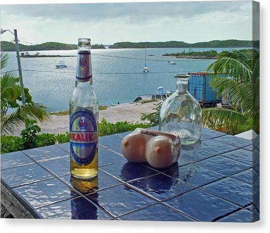 Kalik Beer Bottle At The Front Porch Canvas Print