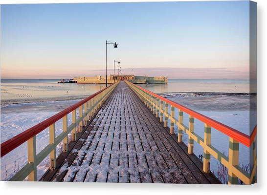 Kallbadhuset Pier At Dusk Canvas Print by Secablue