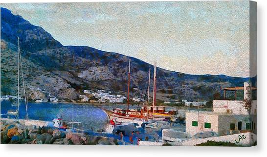 Kamares Port Canvas Print by Laurence Canter