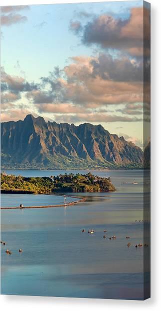 Kaneohe Bay Panorama Mural 2 Of 5 Canvas Print