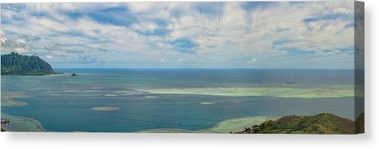 Kaneohe Sandbar Panorama Canvas Print