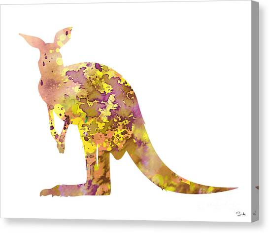 Kangaroo Canvas Print - Kangaroo by Watercolor Girl