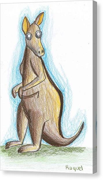 Kangaroo From Down Under Canvas Print by Raquel Chaupiz