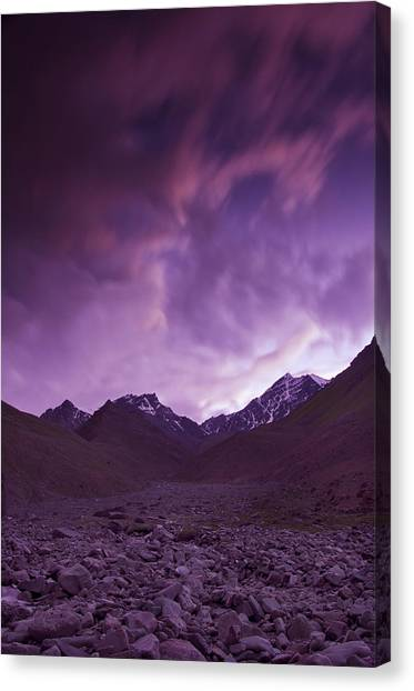 Mountain Sunrises Canvas Print - Kangri Twilight by Aaron Bedell