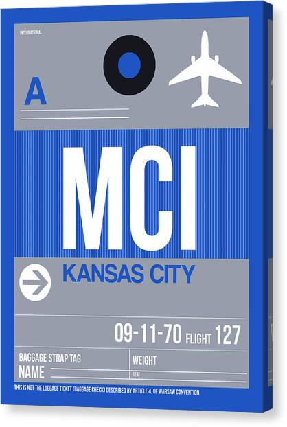 Kansas Canvas Print - Kansas City Airport Poster 2 by Naxart Studio