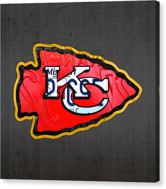 Kansas City Chiefs Canvas Print - Kansas City Chiefs Football Team Retro Logo Missouri License Plate Art by Design Turnpike