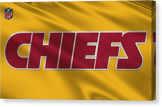 Kansas City Chiefs Canvas Print - Kansas City Chiefs Uniforms by Joe Hamilton