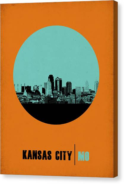 Kansas Canvas Print - Kansas City Circle Poster 1 by Naxart Studio