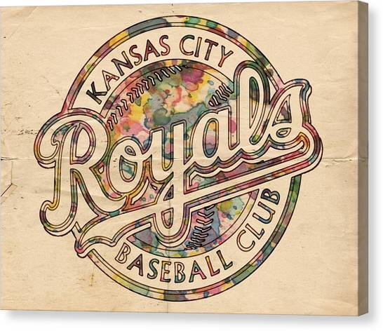 Kansas City Royals Canvas Print - Kansas City Royals Logo Vintage by Florian Rodarte