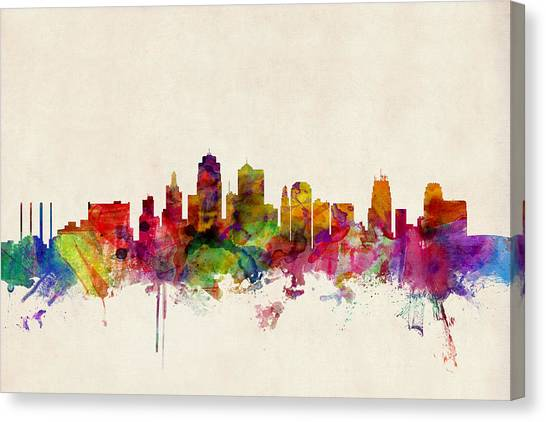 Urban Canvas Print - Kansas City Skyline by Michael Tompsett