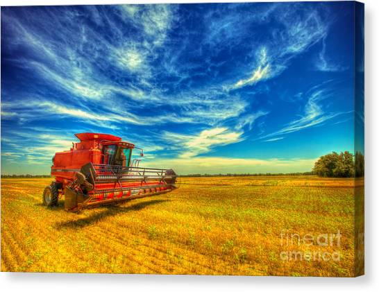 Tractor Canvas Print - Kansas Combine by  Caleb McGinn