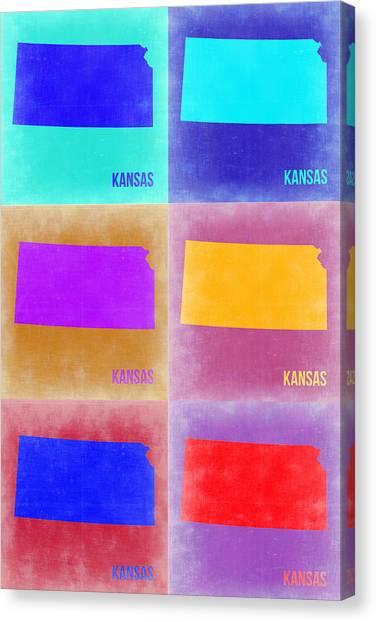 Kansas Canvas Print - Kansas Pop Art Map 4 by Naxart Studio