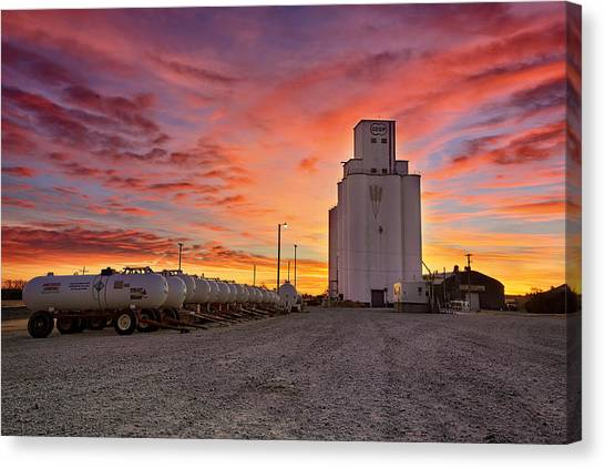 City Sunrises Canvas Print - Kansas Skyfire by Thomas Zimmerman