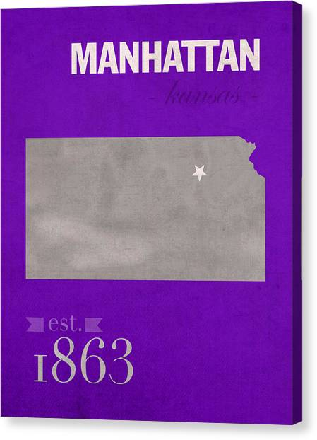 Big Xii Canvas Print - Kansas State University Wildcats Manhattan Kansas College Town State Map Poster Series No 052 by Design Turnpike