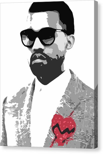 Black Canvas Print - Kanye West by Mike Maher