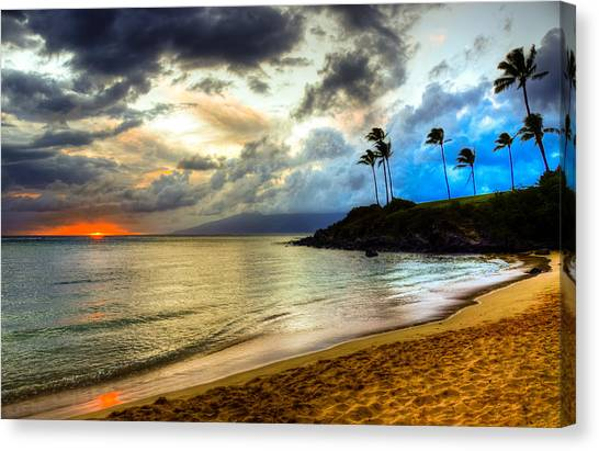 Coconut Canvas Print - Kapalua Bay Sunset by Kelly Wade