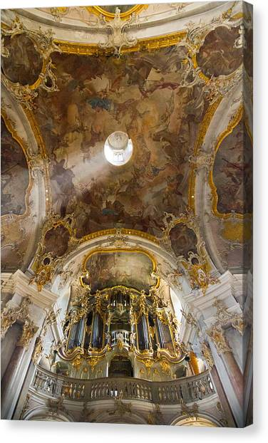 Kappele Wurzburg Organ And Ceiling Canvas Print