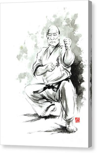 Karate Canvas Print - Karate Martial Arts Kyokushinkai Masutatsu Oyama Japanese Kick Japan Ink Sumi-e by Mariusz Szmerdt