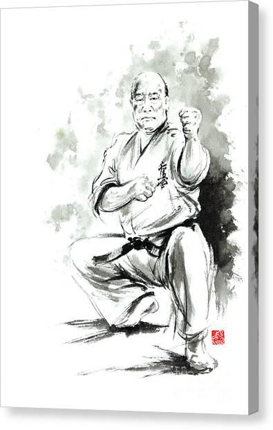 Oyama Canvas Print - Karate Martial Arts Kyokushinkai Masutatsu Oyama Japanese Kick Japan Ink Sumi-e by Mariusz Szmerdt