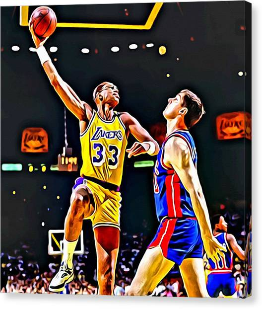 Milwaukee Bucks Canvas Print - Kareem Abdul Jabbar by Florian Rodarte