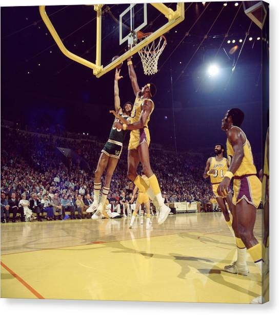 Ucla Canvas Print - Kareem Abdul Jabbar Hook by Retro Images Archive