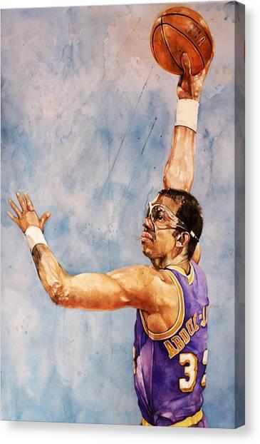 La Lakers Canvas Print - Kareem Abdul Jabbar by Michael  Pattison
