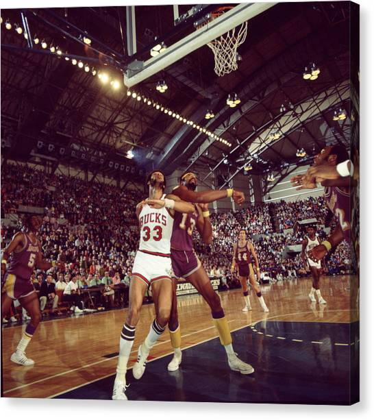Ucla Canvas Print - Kareem Abdul Jabbar Rebounding by Retro Images Archive