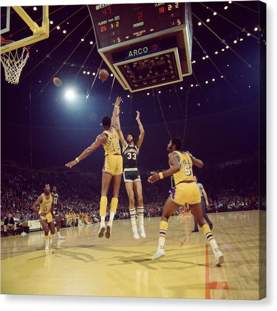 Ucla Canvas Print - Kareem Abdul Jabbar Shoots Under Pressure by Retro Images Archive