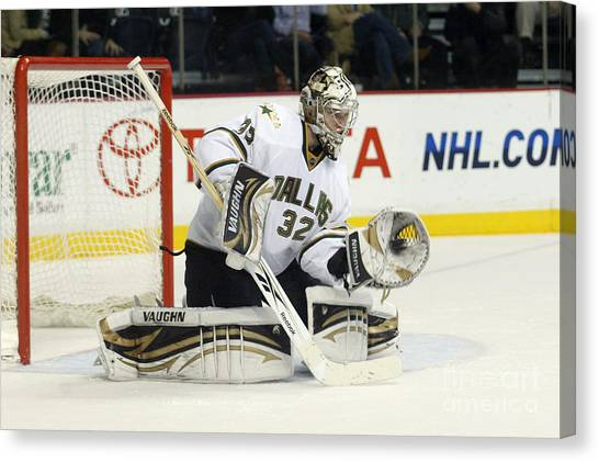 Dallas Stars Canvas Print - Kari Lehtonen by Don Olea