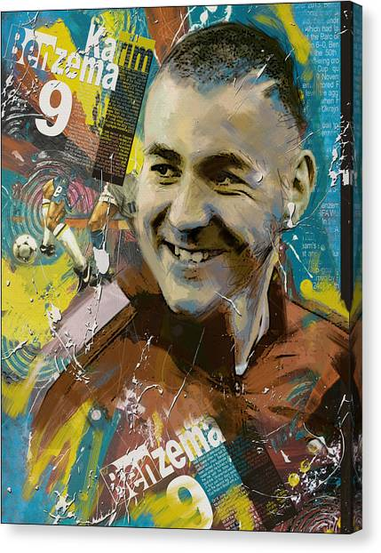 Fc Barcelona Canvas Print - Karim Benzema - B by Corporate Art Task Force